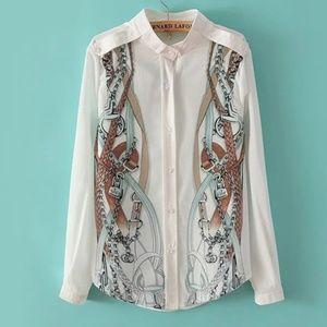 Italian designer Horsebit print button shirt xs-m